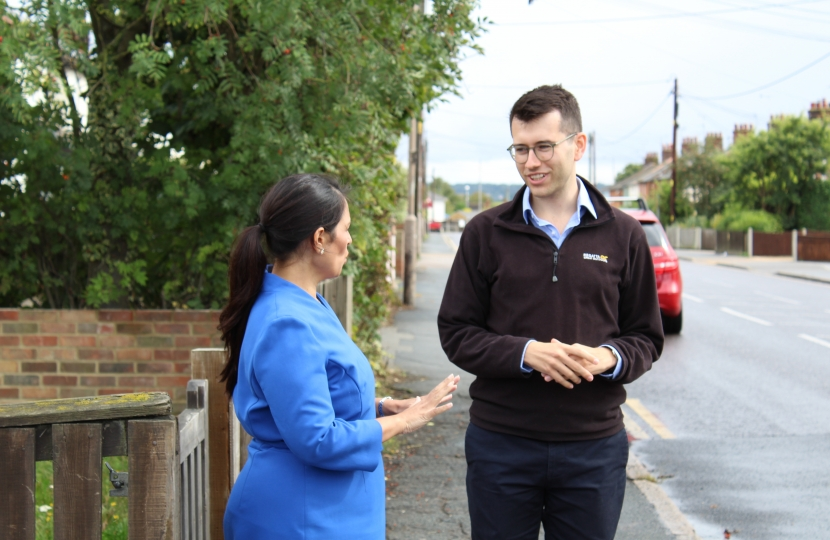 Ross Playle with Priti Patel MP